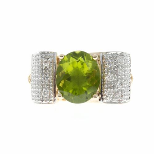 Estate Oval Peridot Ring Swirl Diamond Top 14k Yellow Gold
