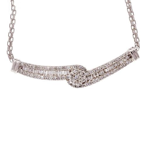 Estate Round Baguette Pendant Swirl Diamond Design 14k White Gold