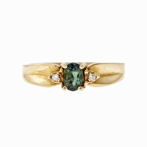 Alexandrite Natural Certified 14k Yellow Gold Diamond Ring