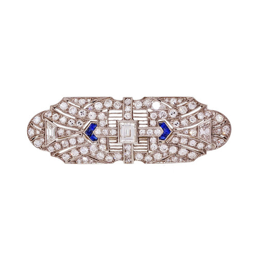 Vintage Art Deco Pin Platinum Emerald Trapezoid Cut Diamond Sapphire