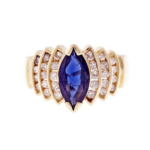 Estate Marquise Sapphire Diamond Ring Deep Blue 14k Yellow Gold