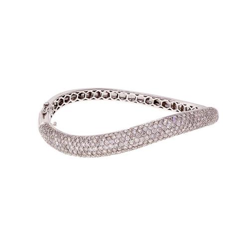 Curved Swirl Pave Diamond Bangle Bracelet Domed 14k White Gold