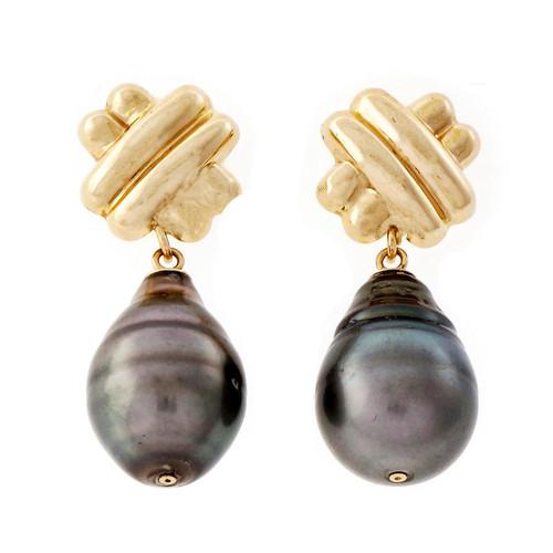 Estate Baroque Black South Sea Cultured Pearl Dangle Earrings 14k Yellow Gold