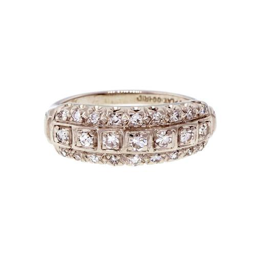 Vintage 1950 3 Row Platinum Diamond Ring