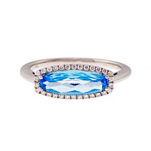 Across The Finger Blue Topaz Ring Diamond Halo 14k White Gold