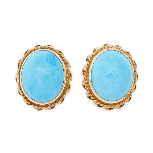 Vintage 1960 Turquoise Pierced Earrings 14k Yellow Gold