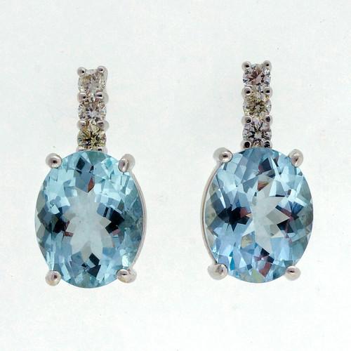 Vintage 1950 4.50ct Aqua Diamond 14k White Gold Earrings