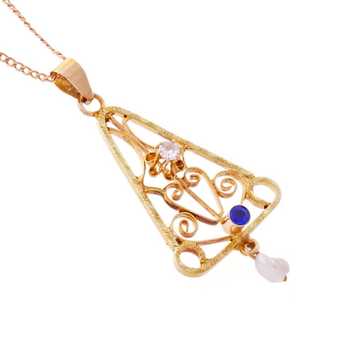 Antique 1900 Lavalier Rose Gold Diamond Natural Pearl Pendant 14k