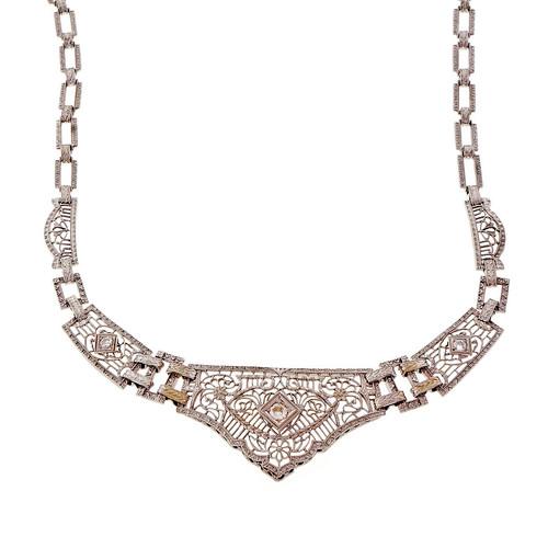 Art Deco Platinum Gold Filigree Diamond Necklace Old European Cut