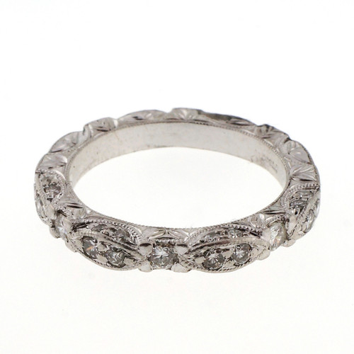 Vintage Platinum Diamond Engraved .45ct Wedding Band Ring