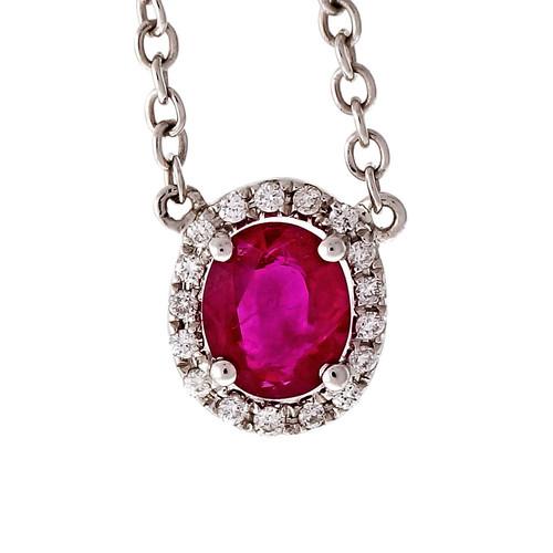 Halo Diamond By The Yard Ruby Diamond Pendant 18k White Gold