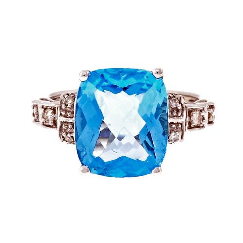 Cushion Cut Bright Blue Topaz Ring 14k White Gold Diamond
