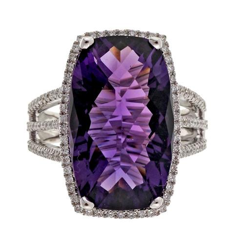 Bright Purple 8.43ct Cushion Amethyst Halo Diamond 14k White Gold Ring
