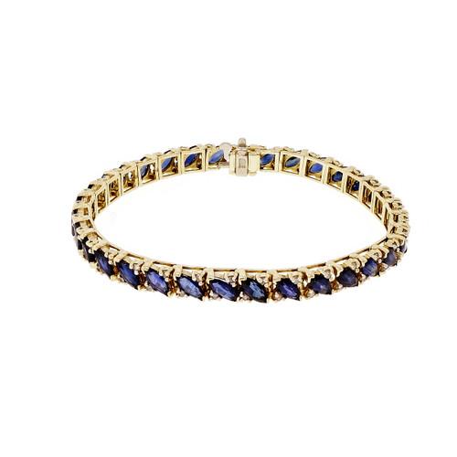 Marquise Sapphire Bracelet 14k Yellow Gold
