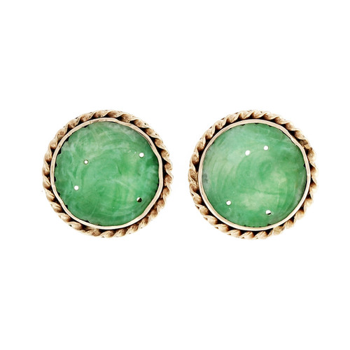 GIA Certified Jadeite Jade Gold Carved Round Earrings