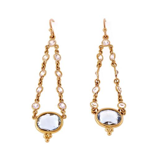 Oval Blue Topaz Dangle Earrings 18k Yellow Gold