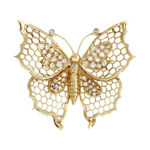 1.50 Carat Butterfly Diamond Gold Brooch