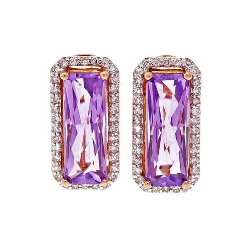 Elongated Emerald Cut Amethyst Pink Gold Diamond Halo Earrings 14k
