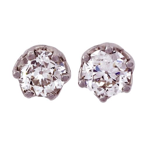 Peter Suchy Transitional Cut Platinum Diamond Earrings