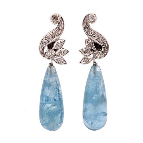 Vintage 17.00ct Natural Tear Drop Aqua 14k White Gold Dangle Diamond Earrings