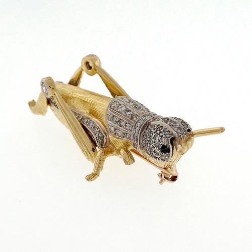 Estate 1960 Grasshopper 14k Gold 3-D 1.23ct Diamond Pin