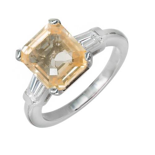 Important Orange Yellow Natural Emerald Cut Sapphire Platinum Diamond Ring