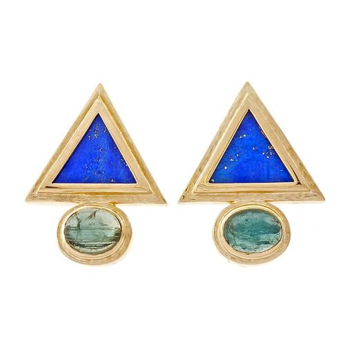 Lapis Triangle Vintage 1960 Tourmaline 14k Earrings
