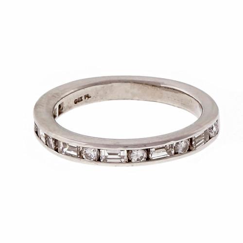 Estate OGI Platinum Round Baguette Diamond Channel Ring