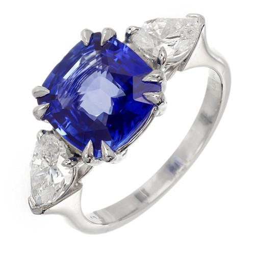 Peter Suchy Sapphire Cushion Cut Engagement Ring Platinum Pear Shape Diamonds
