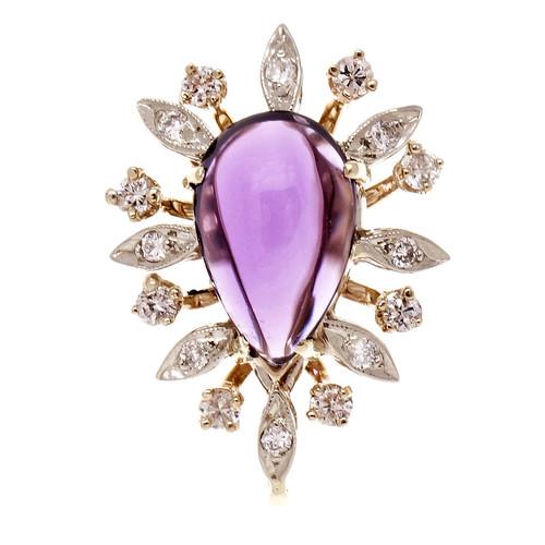 Vintage 1960 Amethyst Pendant Diamond 14k Gold