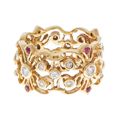 Vintage 1960 Open Work Wide Band With Rubies & Diamonds 14k Yellow Gold