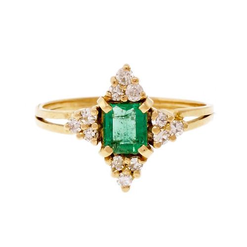 Estate Natural Emerald Cut Emerald 14k Diamond Ring GIA Certified