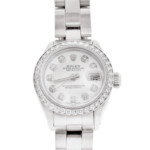 Ladies Steel Rolex Datejust Redone White Diamond Dial Oyster Band