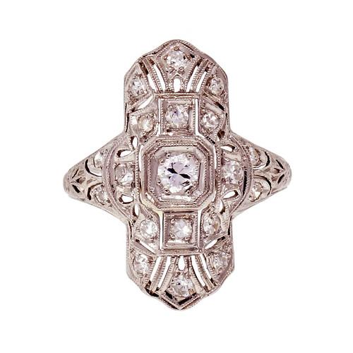 Vintage Art Deco Platinum Diamond Pierced Filigree Ring