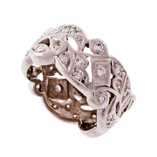 Vintage Wide Platinum Diamond 1950 Band Ring
