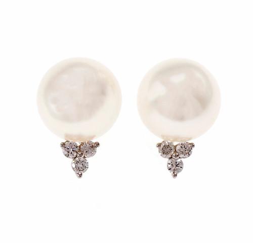 Estate 11mm South Seas Cultured Pearl Diamond Earrings 18k White Gold