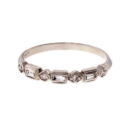 Estate 1940 Baguette Round Platinum Diamond Ring Wedding Band
