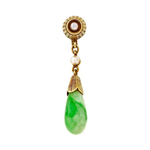 Estate 1940 Natural Jadeite Jade Pearl Pendant 14k Yellow Gold