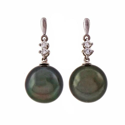 Estate Black South Sea Cultured Pearl Dangle Earrings 14k White Gold