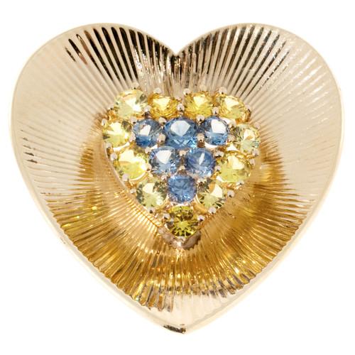 Tiffany & Co Heart Pin Sapphire 14k Yellow Gold