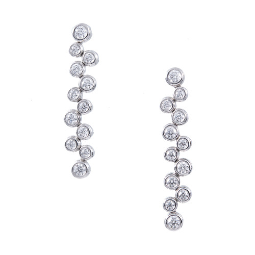 Tiffany & Co Bubbles Large Platinum Diamond Dangle Earrings