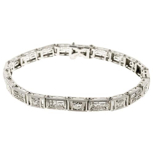 Estate 1940 Hinged Filigree Diamond Link Bracelet 14k White Gold