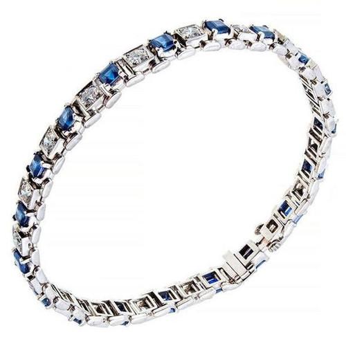 Antique 1940 Art Deco Square 5.00ct Sapphire Diamond Platinum Bracelet