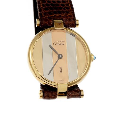 Cartier Quartz Tri Color Dial Vermeil Watch