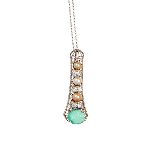 Edwardian Platinum Carved Emerald Pendant GIA Certified Diamond Natural Pearl