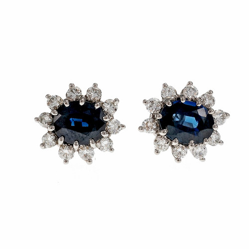 Estate Dark Blue No Heat Sapphire Diamond Earrings 14k White Gold