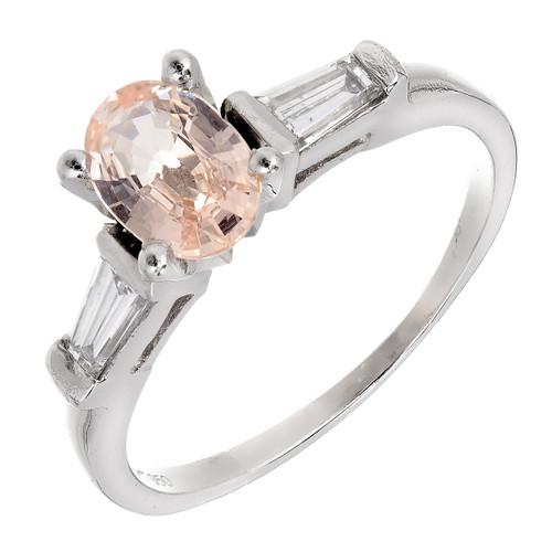 Rare Orange Yellow Sapphire Engagement Ring GIA Certified 1950 Platinum Diamond