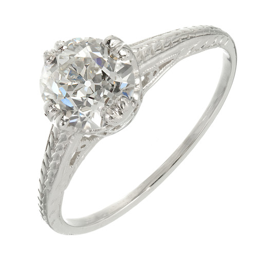 GIA Certified 1.28ct Diamond Filigree Victorian Solitaire Platinum Engagement Ring