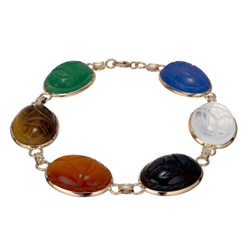 Authentic 1940 Scarab Bracelet Large Multi Color Carved Stones 14k Yellow Gold