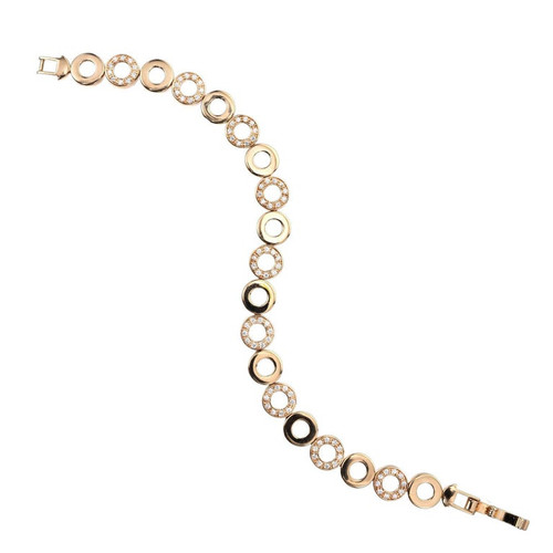 .90 Carat Diamond Yellow Gold Open Circle Link Bracelet